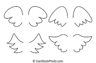 Wings collection vector isolated on white background