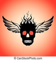 wings., cranio, fuoco, fiamme