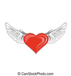 wings., cuore, vettore, illustrazione