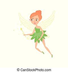 wings., cute, pequeno, dress., magia, coloridos, batuta, apartamento, personagem, mão., duende, fairytale, ilustração, pixie, vetorial, desenho, verde, menina, orelhas, caricatura, fada