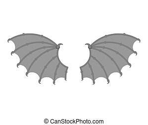 Wings demon isolated. Wing devil. Winged bat or gargoyle