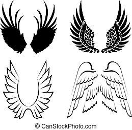 wings., elemente, illustration., vektor, design.