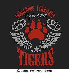 wings., emblemas, emblema, clube, -, etiquetas, luta, tiger, pegada, logos.