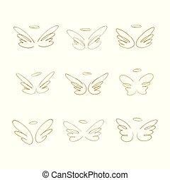 wings., ensemble, main, éléments, conception, dessiné