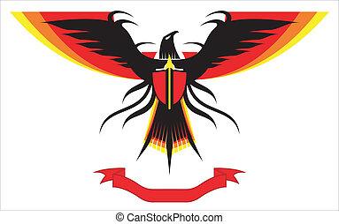 wings., espalhar, águia, falcão