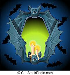 wings., estilo, illustration., morcego, queimadura, cartaz, quadro, dia das bruxas, close-up, mal, caricatura, forma, vetorial, velas, misteriosa, metal, feriado, atmosphere., brilho