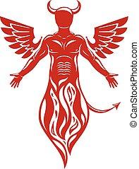 wings., fatto, umano, demon., illustrazione, vettore, fiamma...