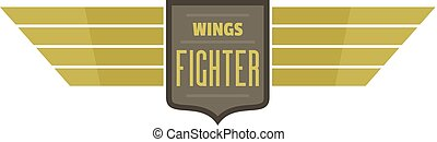 Wings fighter icon logo, flat style
