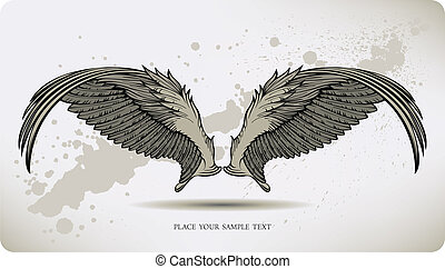 Wings Griffon, hand drawing. Vector