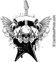 wings guitar skull_var 13 - Vector illustration grunge...