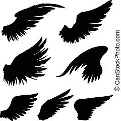 Wings - Hand-drawn vector wings. Colors can be easily...