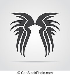 Wings icon with shadow on a gray background. Vector illustration