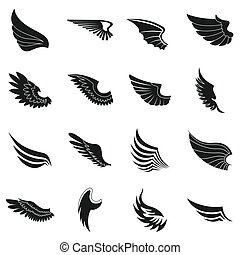 Wings icons set, black simple style