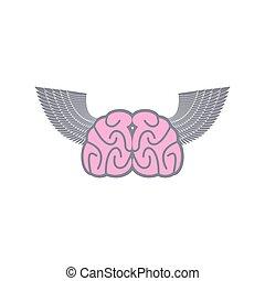 wings., illustration., ange, cerveau, symbole, ideas., arrière-plan., vecteur, logo, blanc, ailes