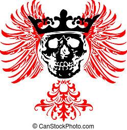 wings., illustration., cráneo, vector, negro, coronado, rojo