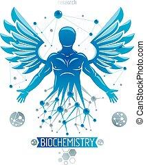 wings., individualiteit, grafisch, gecreëerde, biochemie, maas, wireframe, wezen, illustratie, aansluitingen, research., vector, menselijk, vogel, voorwerp