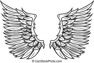 Wings isolated on white background. Design elements for logo, label, emblem, sign, badge. Vector illustration