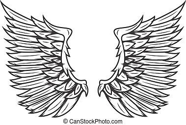 Wings isolated on white background. Design elements for logo, label, emblem, sign, badge. Vector illustration