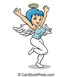 wings., karikatur, engelchen, m�dchen