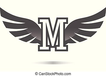 wings letter M logo
