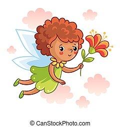 wings., lindo, hada, vuelo, de piel oscura
