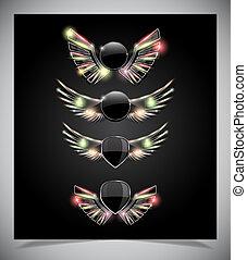 wings., métal, emblème, bouclier, verre
