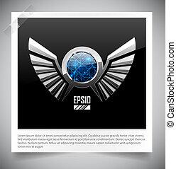 wings., metal, emblema, escudo