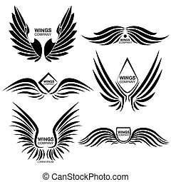 Wings Monochrome Logo Elements Set