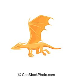 wings., monster., mythisch, wohnung, groß, märchen, fliegendes, feuerdrachen, action., vektor, design, orange, kreatur