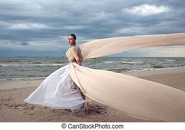 wings., mooi, zoals, modieus, strand, uiterst, lang, wandelingen, model, jurkje, style., mode