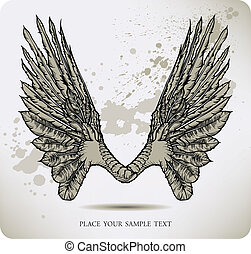 Wings of a crow. Vector illustratio