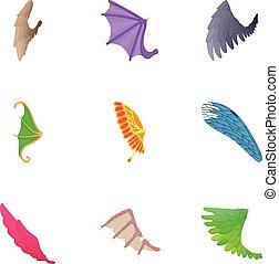 Wings of bird icons set, cartoon style
