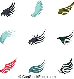 Wings of bird icons set, flat style