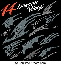 Wings of the dragon. - 14 vector wings of the dragon. Vector...