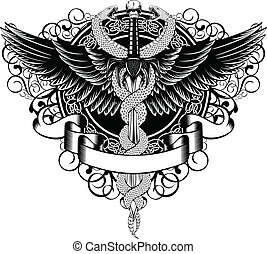 Wings, patterns, fantasy sword and serpents - Vector ...