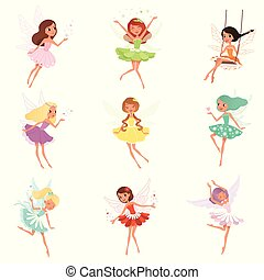 wings., peu, autocollant, coloré, fairies., carte postale,...