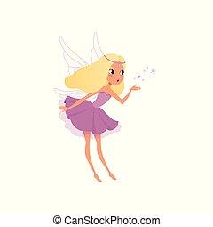 wings., plano, poco, mítico, hada, púrpura, esparcimiento, character., creature., imaginación, mágico, pelo, fairytale, vector, largo, rubio, niña, duendecillo, vestido, imaginario, dust.