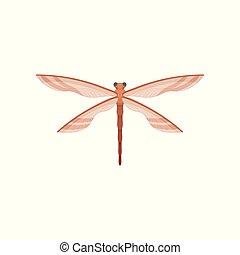 wings., plat, paires, fragile, libellule, voler, creature., deux, beau, vecteur, insect., petit, transparent, icône