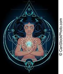 wings., sacré, illustration., rays., magie noire, tenue ...