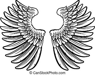 Wings - Set of spread out eagle bird or angel wings