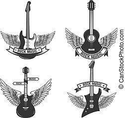 wings., set, segno, etichette, emblema, illustrazione, badge., vettore, disegno, chitarre, roccia, music., elementi
