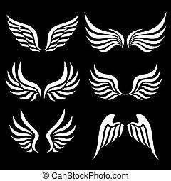 Wings set - wings set. Vector.