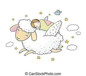 wings., sheep, よい, 睡眠, 女の子, night.