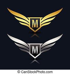 Wings Shield Letter M Logo Template