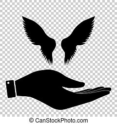 Wings sign. Flat style icon