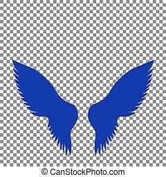 Wings sign illustration. Blue icon on transparent background.