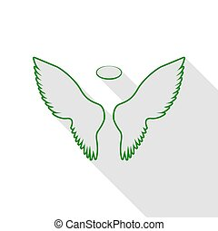 Wings sign illustration. Green icon with flat style shadow path.