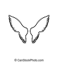 Wings sign illustration. Vector. Black dashed icon on white background. Isolated.
