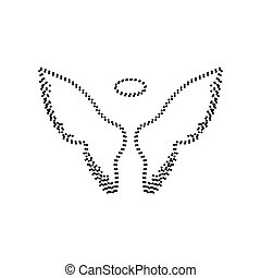 Wings sign illustration. Vector. Black dotted icon on white background. Isolated.