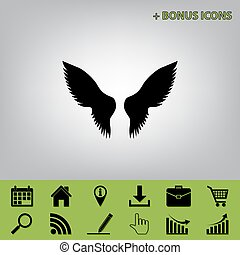 Wings sign illustration. Vector. Black icon at gray background with bonus icons at celery ones